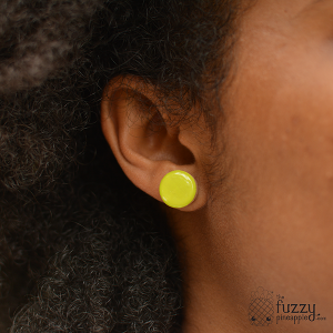 Citron Chunky Candy Dot Earrings