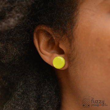 Citron Chunky Dot Earrings by The Fuzzy Pineapple