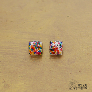 Mini Square Rainbow Sprinkle Earrings