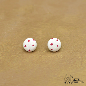 Star Power in Cream and Red M Fabric Covered Button Earrings by The Fuzzy Pineapple