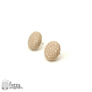 Sand Bubbles M Fabric Button Earrings