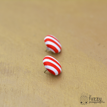 Red and White Stripes M Fabric Button Earrings by The Fuzzy Pineapple