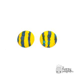 Strike Me Blue XL Fabric Button Earrings