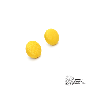 Solid Banana Yellow M Fabric Button Earrings