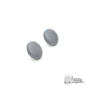 Solid Grey M Fabric Covered Button Earrings