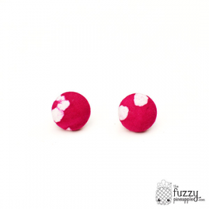 Magenta Magic M Fabric Button Earrings