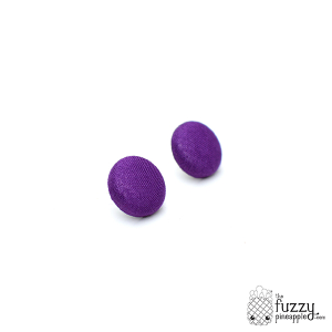 Solid Violet M Fabric Button Earrings