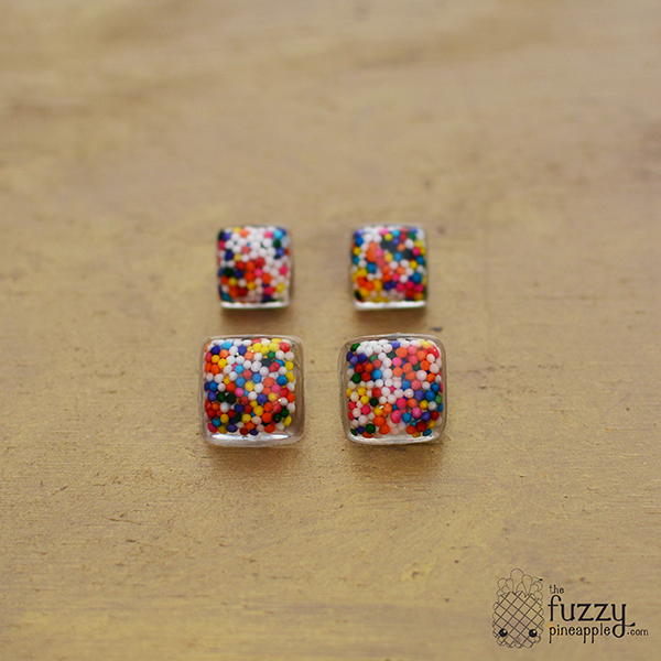 Square Rainbow Sprinkle Earrings