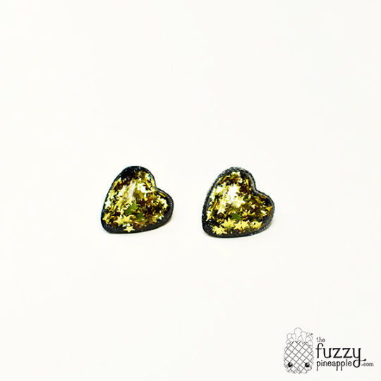 Gold Star Heart Earrings in Black
