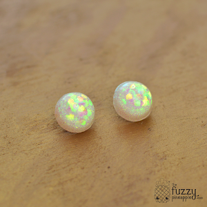 Holographic Sparkler Earrings in White