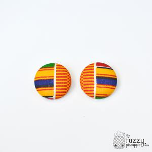 Kente XL Fabric Button Earrings