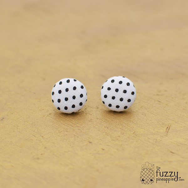 Black Polka Dots on White S Fabric Button Earrings