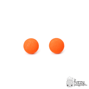 Solid Bright Orange M Fabric Button Earrings
