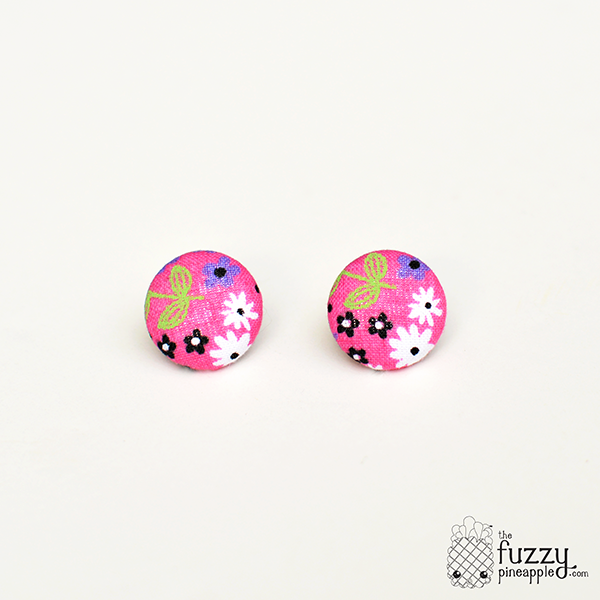 The First Day of Spring M Fabric Button Earrings