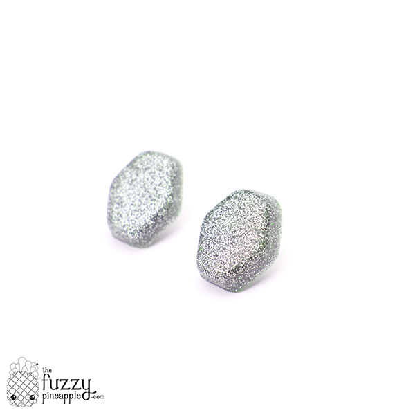 Silver Glitter Hexagon Earrings