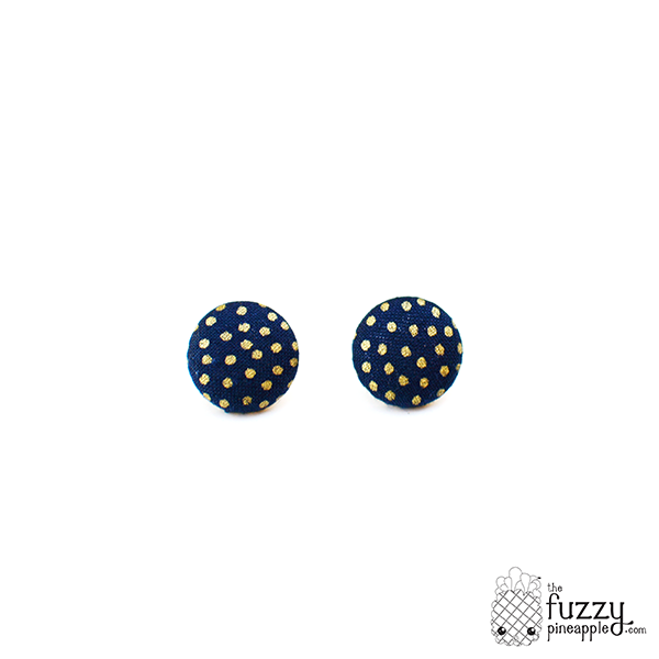 Gold and Navy Blue Polka Dot M Fabric Button Earrings