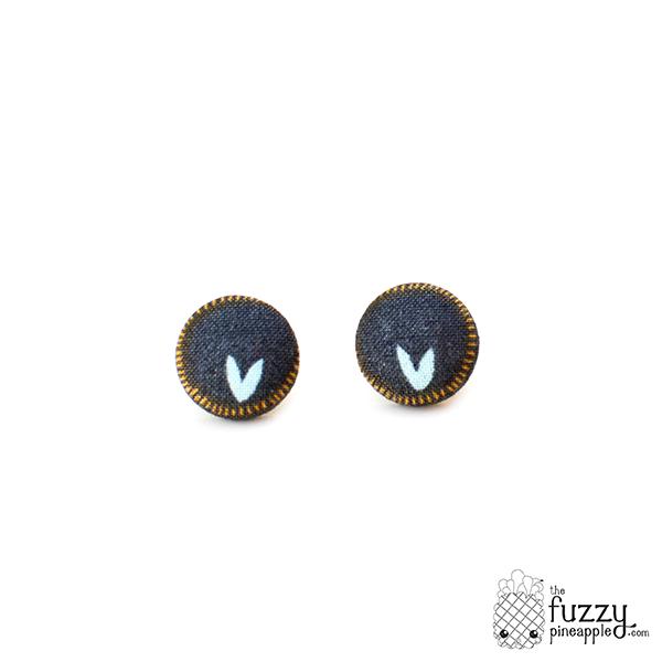 Bottom of My Heart M Fabric Button Earrings