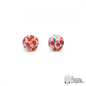 Soft Flowers M Fabric Button Earrings