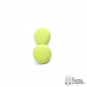 Solid Celery M Fabric Button Earrings