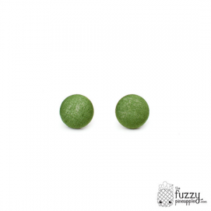 Solid Avocado M Fabric Button Earrings