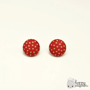 Strawberry Bits M Fabric Button Earrings