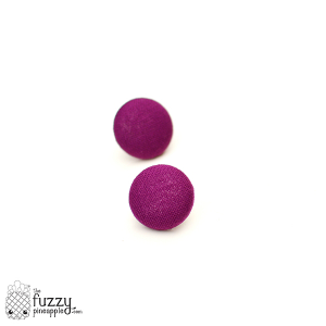 Solid Berry M Fabric Button Earrings