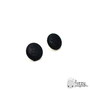 Solid Black M Fabric Button Earrings