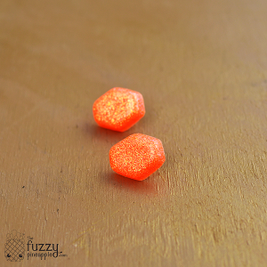 Holographic Neon Orange Hexagon Earrings
