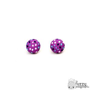 Purple, Mint, & Black M Fabric Button Earrings