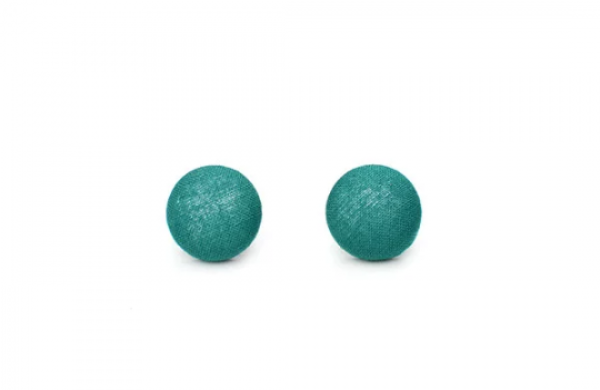 Solid Teal M Fabric Button Earrings by The Fuzzy Pineapple