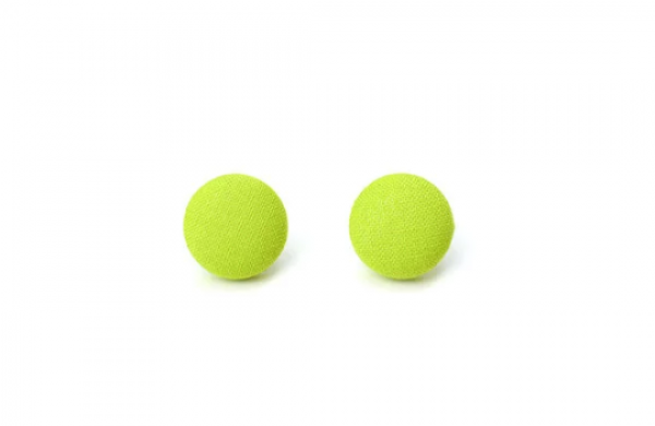 Solid Lime M Fabric Button Earrings by The Fuzzy Pineapple